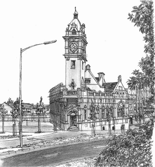 The Public Library, Saltley Road 1997 - original drawings and prints by Stephen Wiltshire