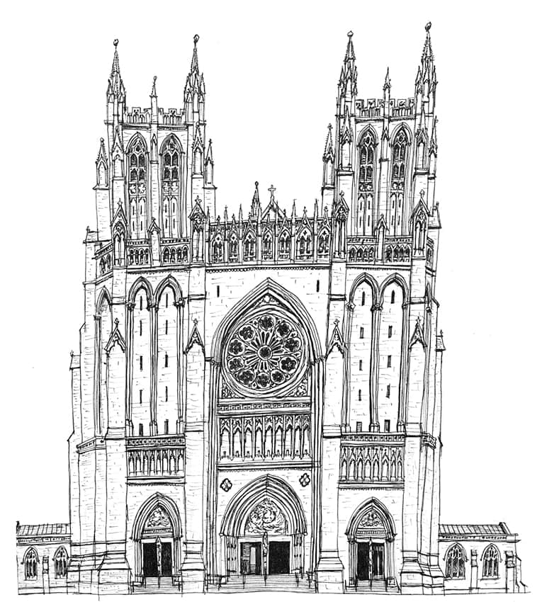 Gothic Cathedral Diagram Beautiful Scenery Photography