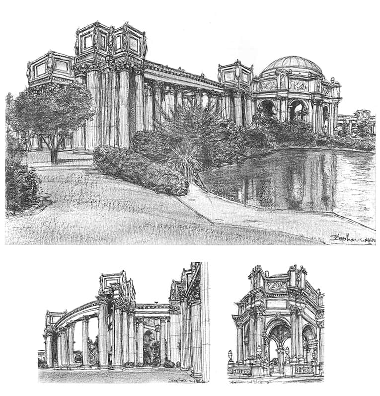 Palace of Fine Arts - Original Drawings and Prints for Sale