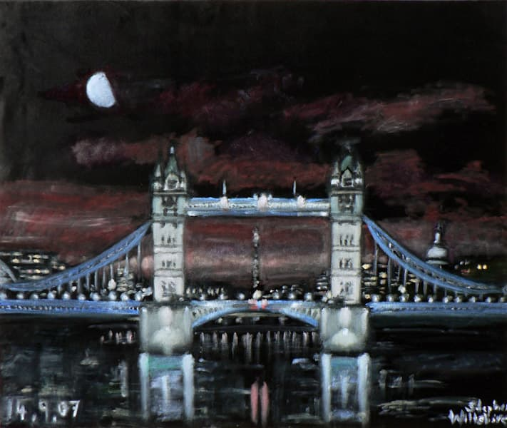 Tower Bridge at night - oil on velvet - original drawings and prints by Stephen Wiltshire