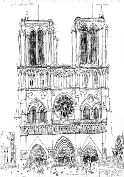 Notre Dame, Paris 1988 - originals and prints by Stephen Wiltshire MBE