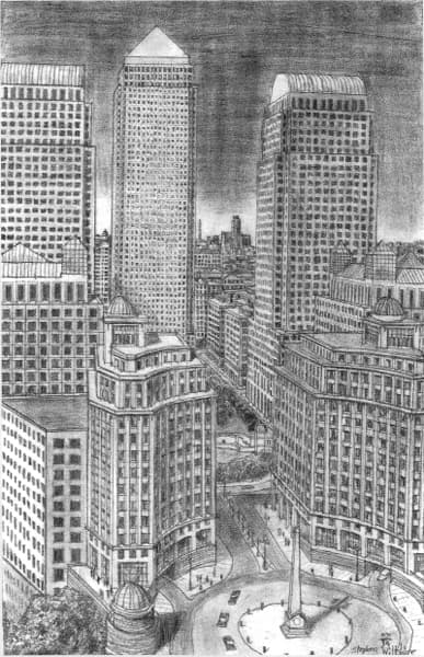 Canary Wharf in August 1988 - Original drawings, prints and limited editions by Stephen ...