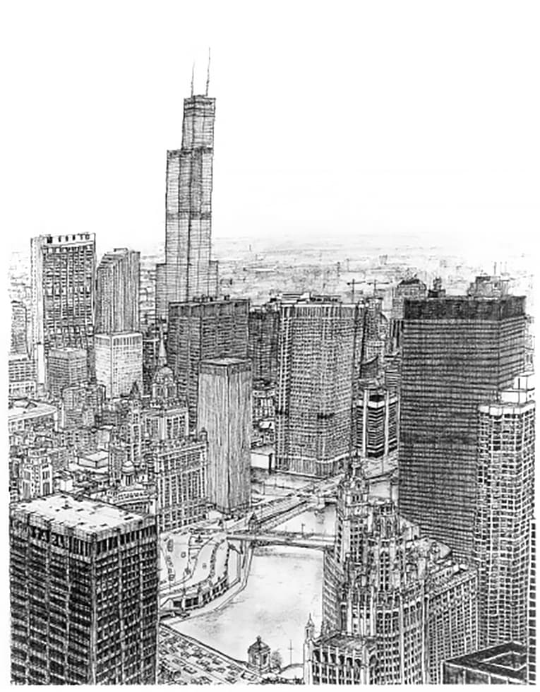 Chicago - original drawings and prints by Stephen Wiltshire