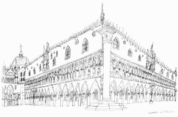Line Drawing Venice : The doges palace venice original drawings prints