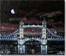 Tower Bridge at night - oil on velvet - Originals for sale