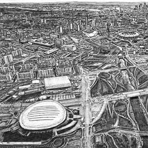 Aerial view of the 2012 London Olympic site