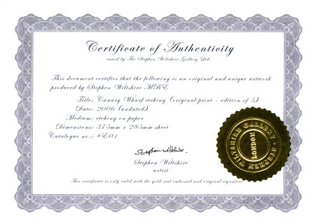 Certificate of authenticity the stephen wiltshire gallery the following image is a sample certificate yelopaper Images