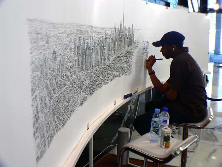 Dubai Panorama - drawings and paintings by Stephen Wiltshire MBE