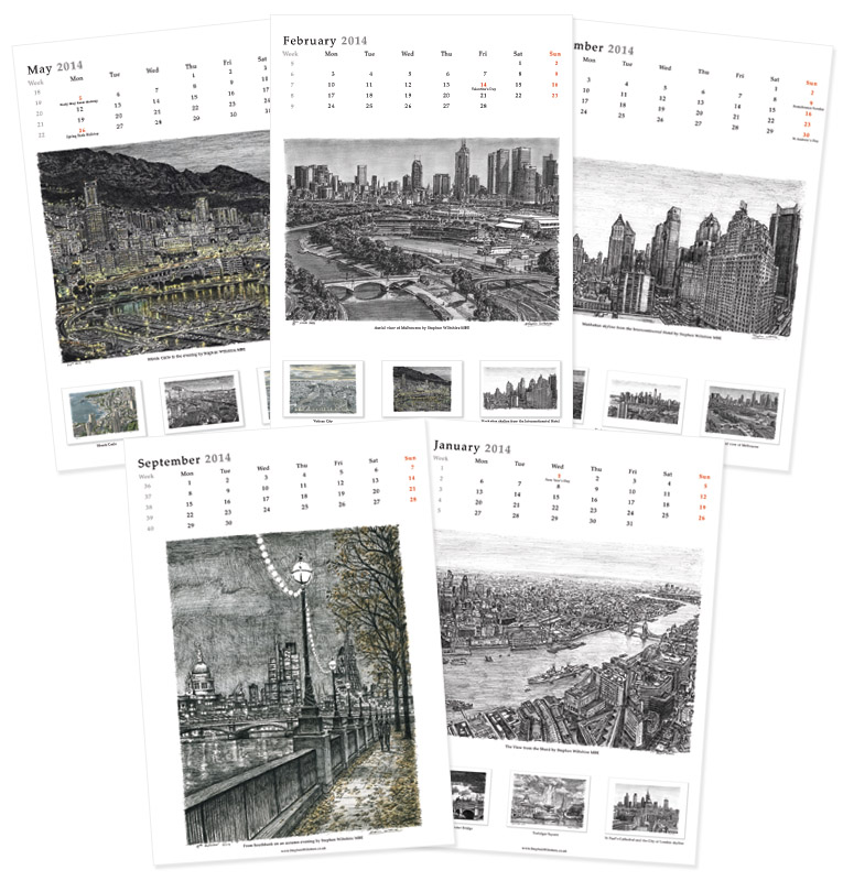 Stephen Wiltshire 2014 Calendar - originals and prints by Stephen Wiltshire MBE