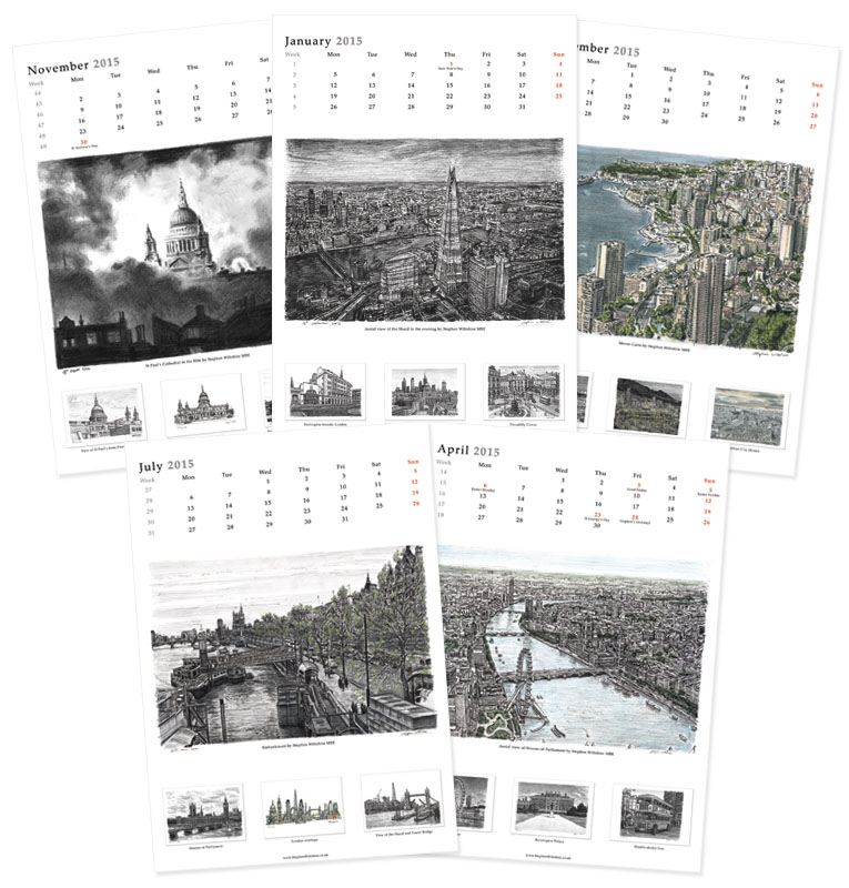 Stephen Wiltshire 2015 Calendar - originals and prints by Stephen Wiltshire MBE