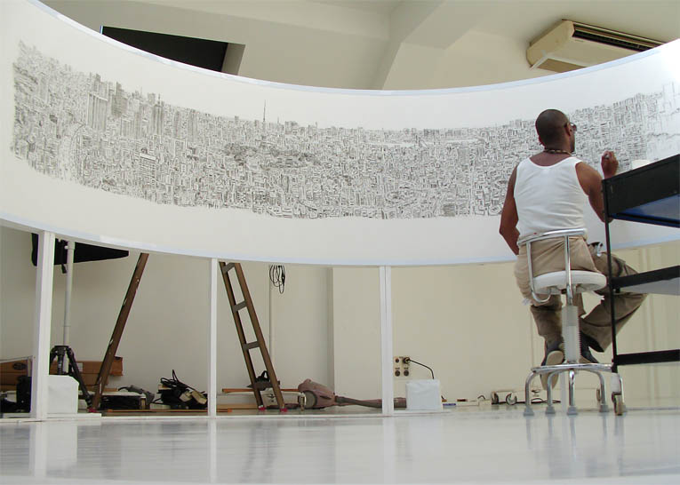 Tokyo Panorama print - original drawings and prints by Stephen Wiltshire