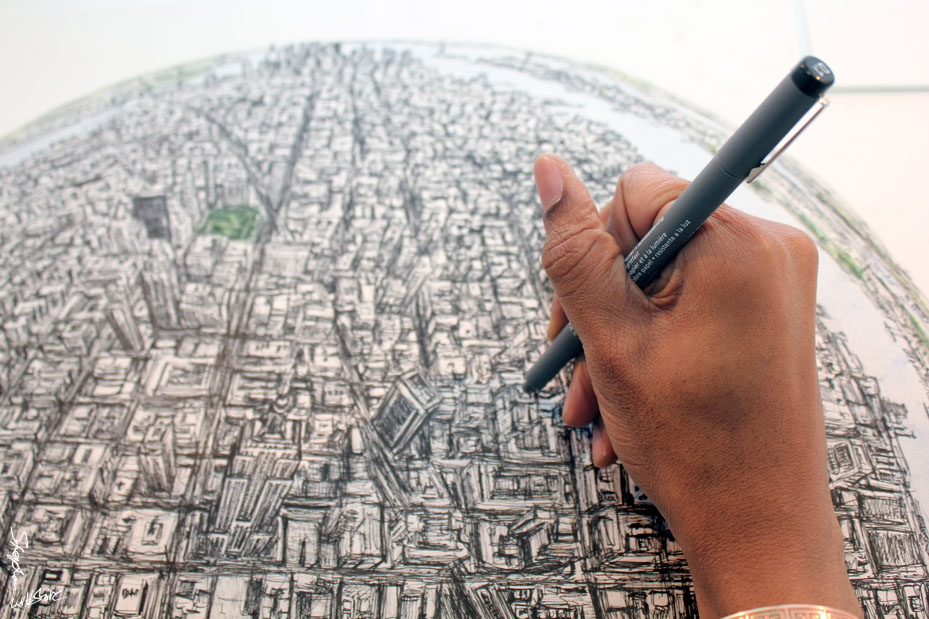 Drawing Globe of New York
