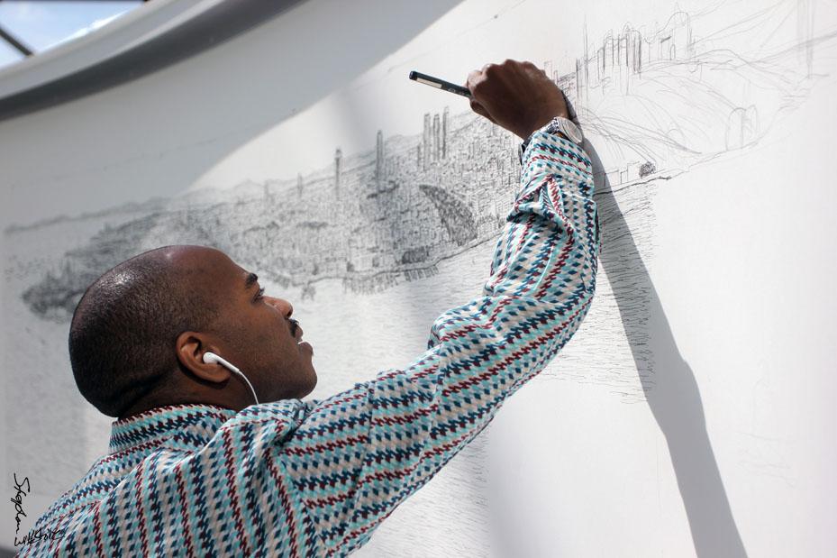 Stephen draws Istanbul skyline