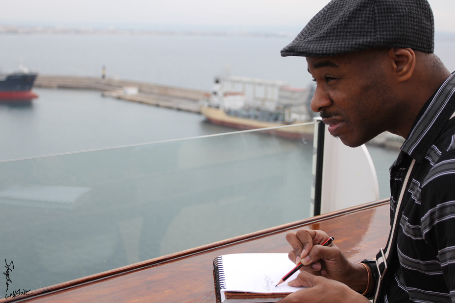 Sketching away at Port of Marseille