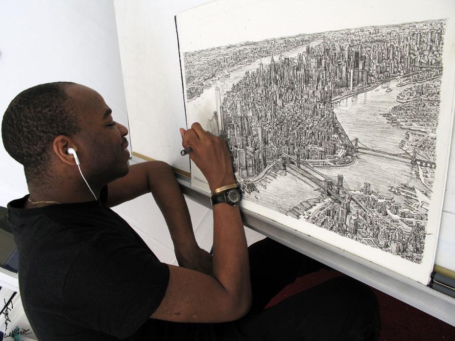 drawing manhattan in my studio