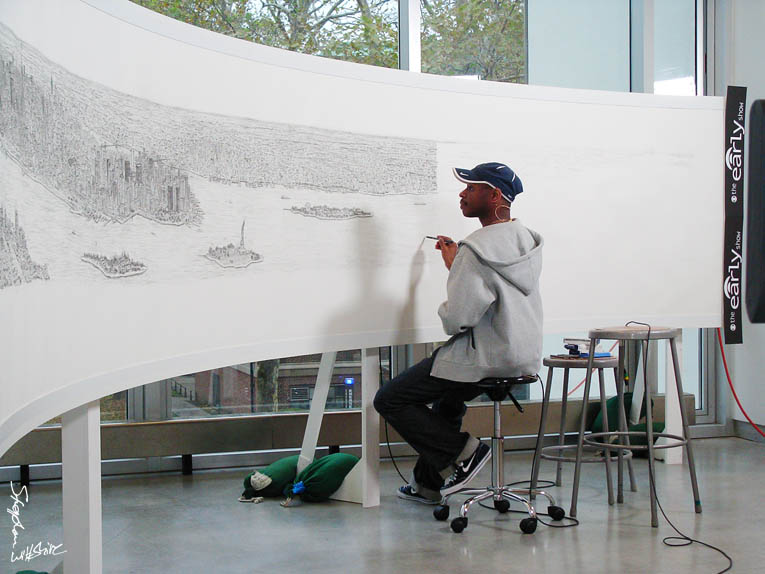 Stephen Wiltshire drawing New York panorama