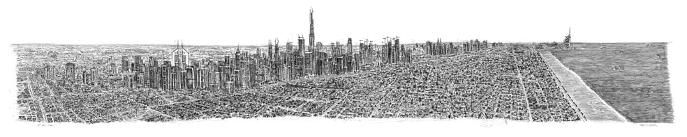Dubai Panorama prints by Stephen Wiltshire