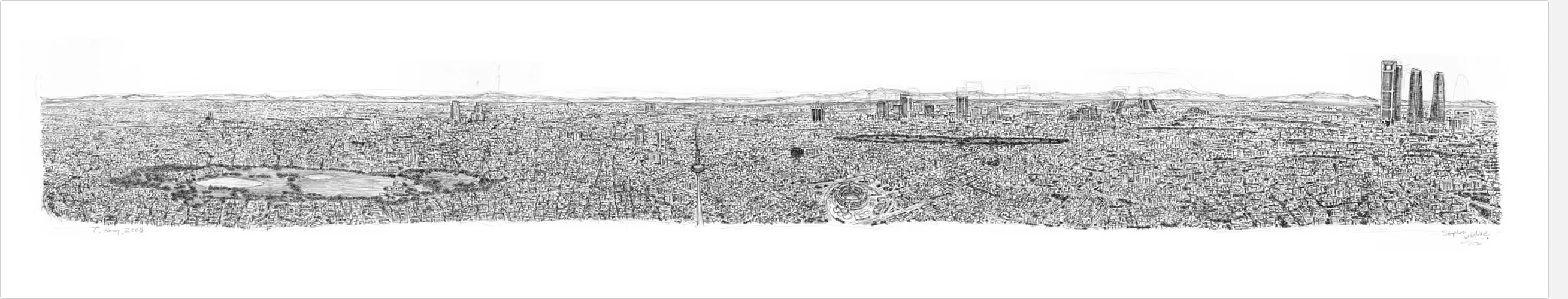 Madrid Panorama drawing by Stephen Wiltshire MBE