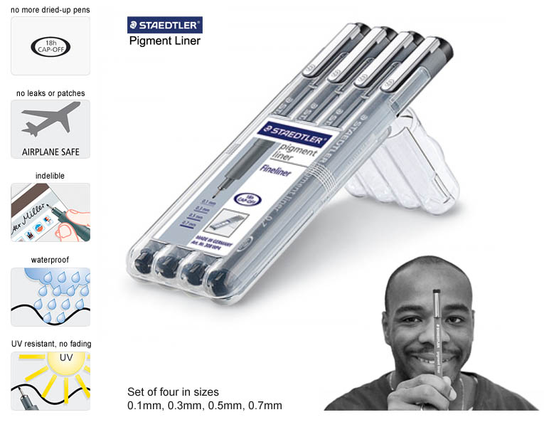Staedtler Pigment Liner (Set of 4) - gifts and merchandise by Stephen Wiltshire MBE