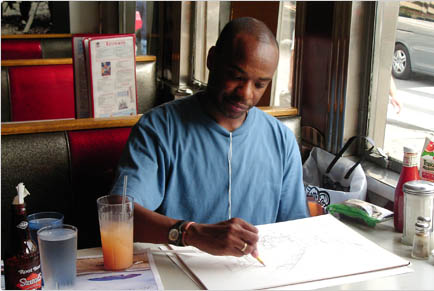 Stephen Wiltshire drawing in New York