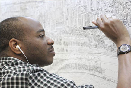 Stephen Wiltshire drawing Singapore