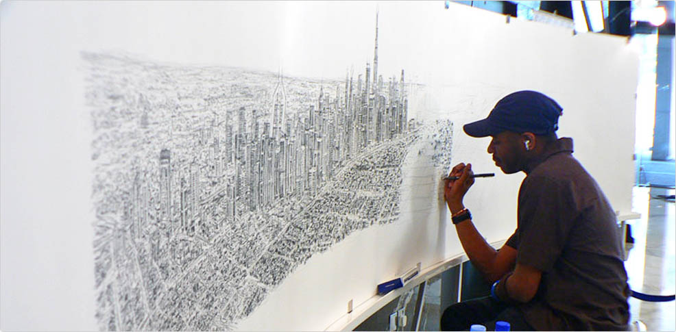 Stephen Wiltshire drawing Dubai