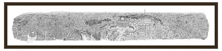 2m Framed Rome Panorama print