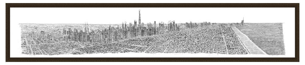 Framed Dubai Panorama prints by Stephen Wiltshire