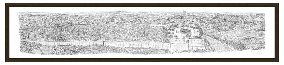 Framed Jerusalem Panorama prints by Stephen Wiltshire
