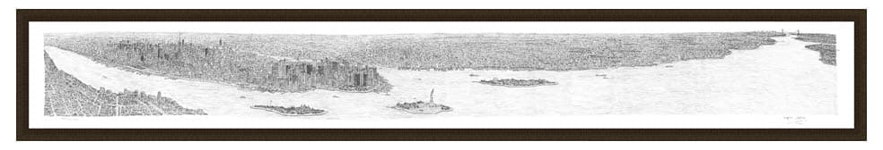 Framed New York Panorama prints by Stephen Wiltshire