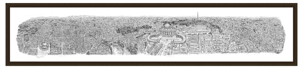 Framed Rome Panorama prints by Stephen Wiltshire