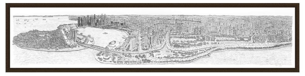 Framed Singapore Panorama prints by Stephen Wiltshire