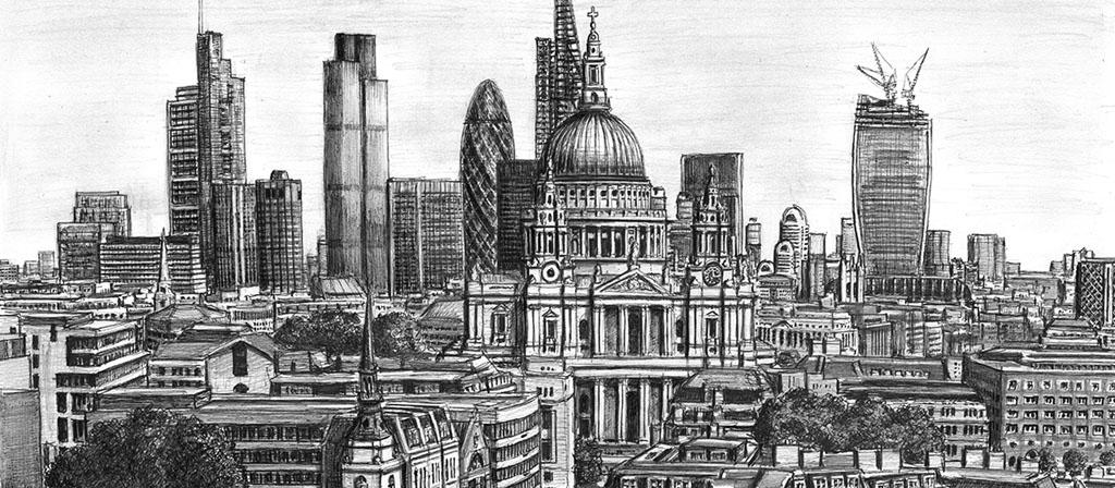 St Pauls Cathedral and the City of London skyline
