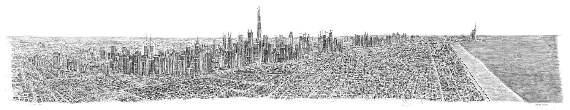 Stephen Wiltshire draws Dubai Panorama