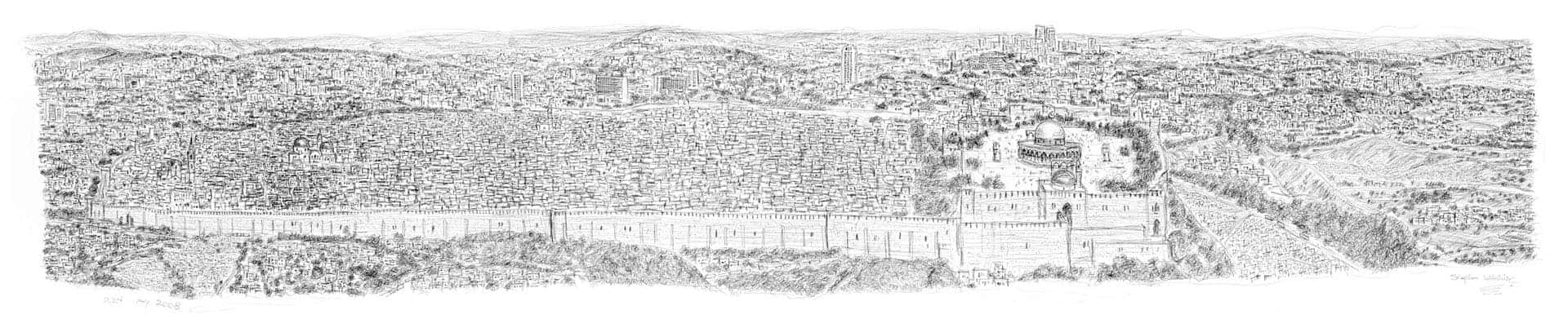Stephen Wiltshire draws Jerusalem Panorama