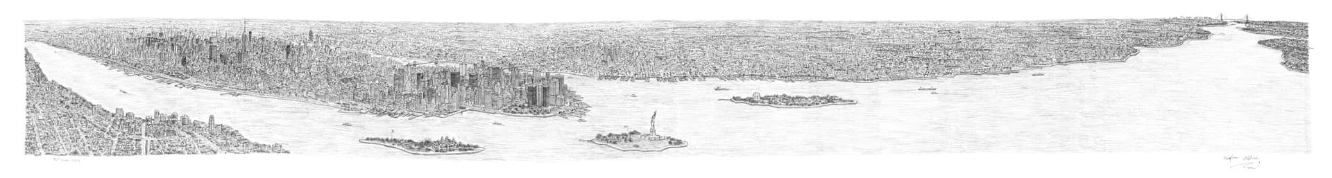 Stephen Wiltshire draws New York Panorama
