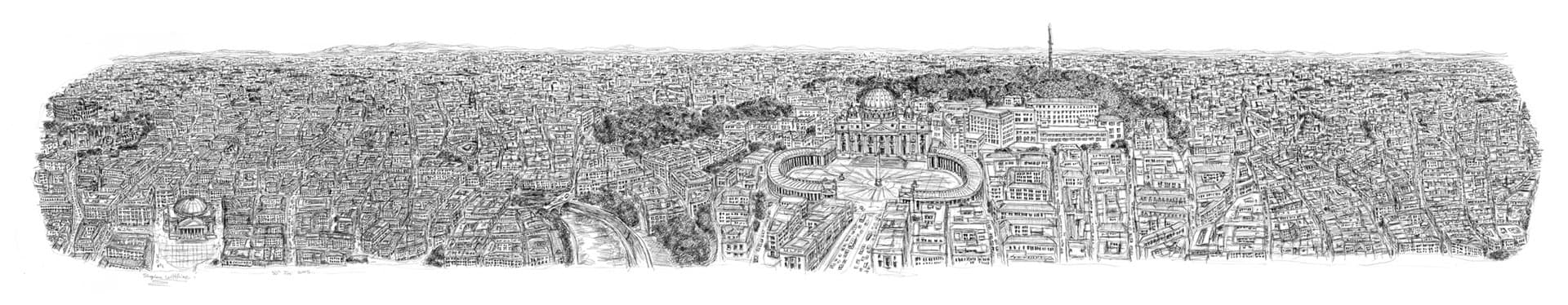 Stephen Wiltshire draws Rome Panorama