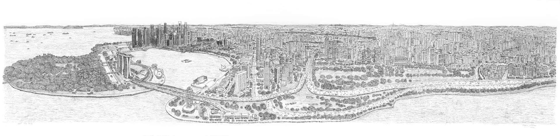 Stephen Wiltshire draws Singapore Panorama