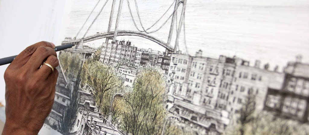 Stephen draws Verazzano Bridge
