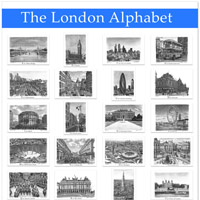 The London Alphabet poster (Blue)  - Gifts & Merchandise for sale