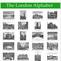 The London Alphabet poster (Green)  - Gifts & Merchandise for sale