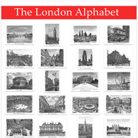 The London Alphabet poster (Red)  - Gifts & Merchandise for sale