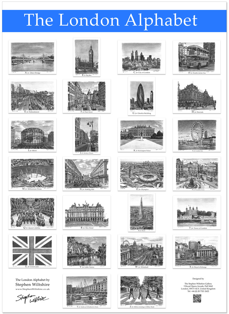 The London Alphabet poster (Blue)  - gifts and merchandise by Stephen Wiltshire MBE