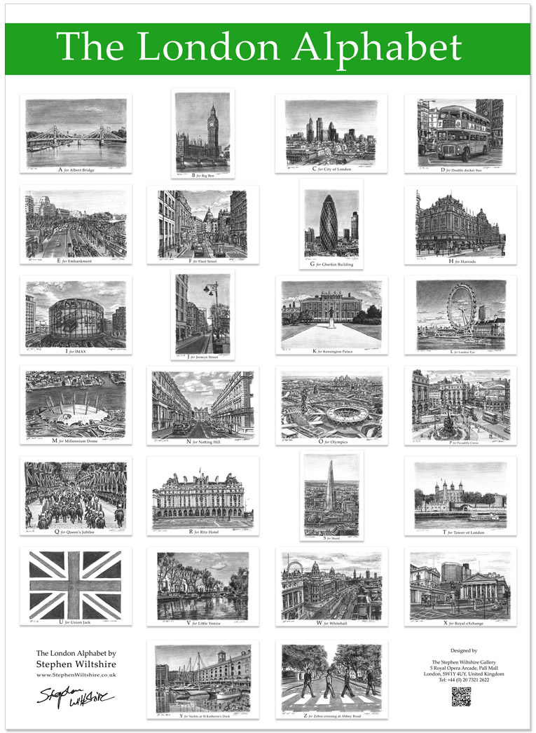 The London Alphabet poster (Green)  - gifts and merchandise by Stephen Wiltshire MBE