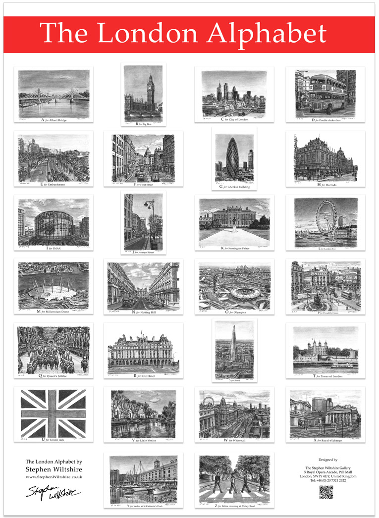 The London Alphabet poster (Red)  - gifts and merchandise by Stephen Wiltshire MBE