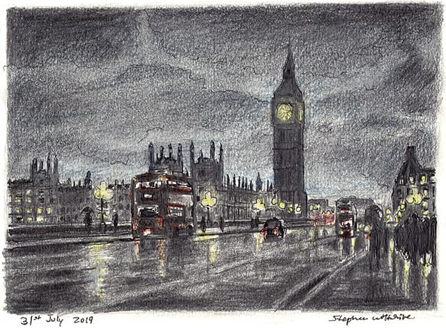 Drawing of Big Ben and Westminster Bridge