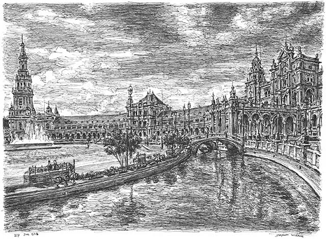Drawing of Seville, Spain