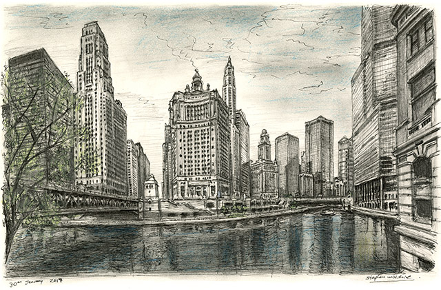 Drawing of Chicago River