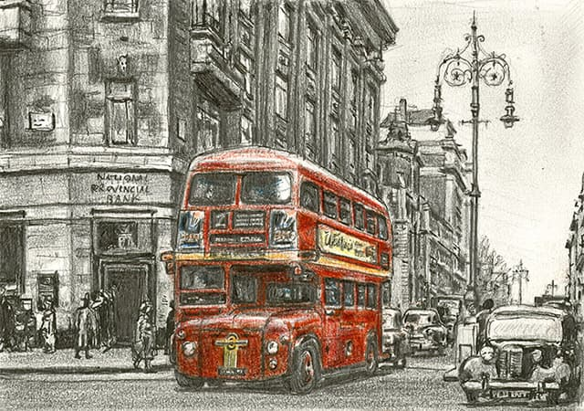 The first London bus entering Oxford street (1956)