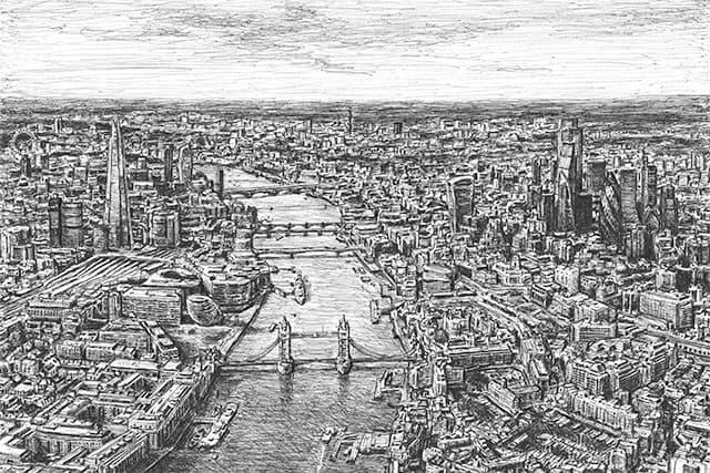 Aerial view of Tower Bridge and River Thames - original drawing